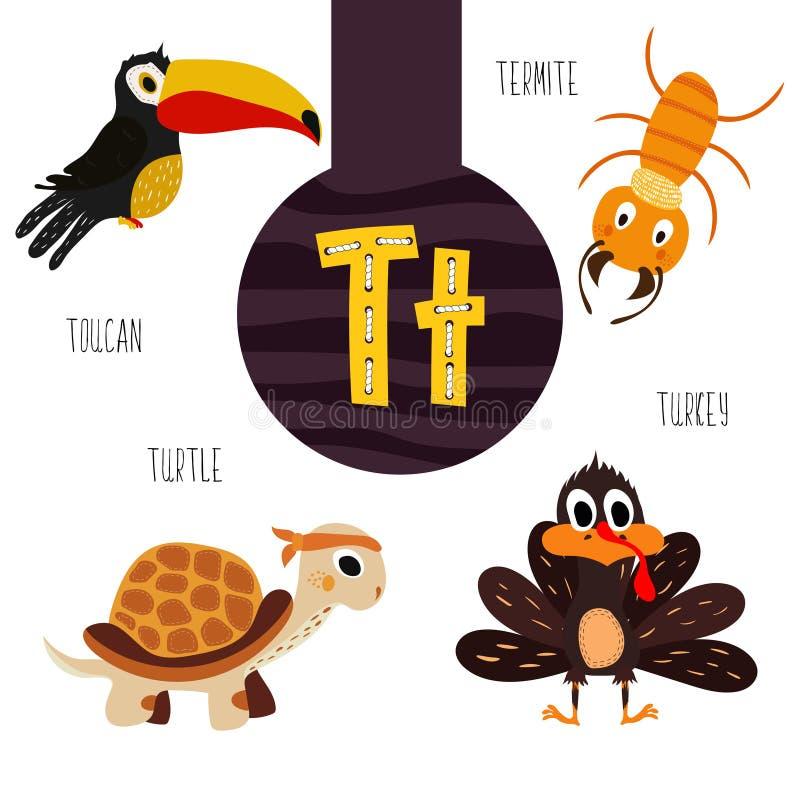 乐趣动物字母表发展和得知的学龄前孩子 套逗人喜爱的森林,国内和海洋 库存例证