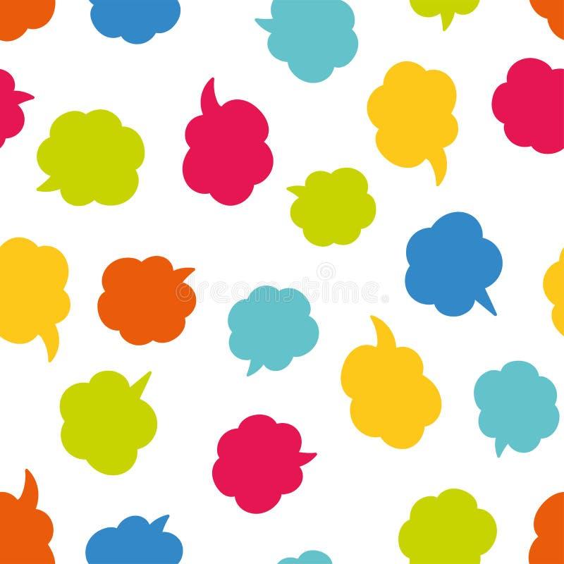 乐趣动画片讲话泡影背景-五颜六色的可笑的无缝的样式,伟大为纺织品,邀请,网背景或 皇族释放例证