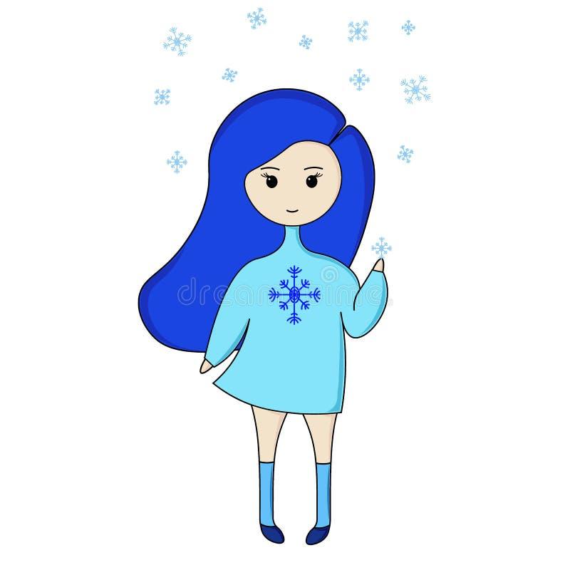 乐趣动画片蓝色女孩 向量例证