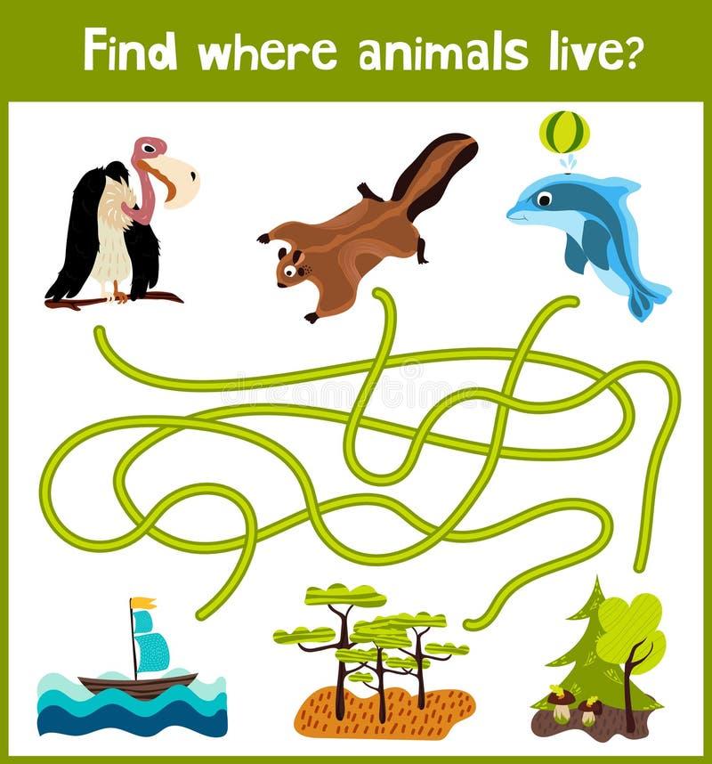 乐趣和五颜六色的难题比赛儿童发育的哪里发现鹿、镶边花栗鼠和鱼 幼儿园的训练迷宫 向量例证