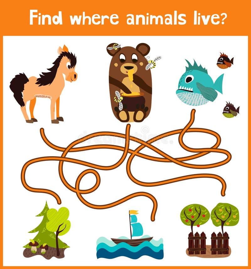 乐趣和五颜六色的难题比赛儿童发育的哪里发现鹿、镶边花栗鼠和鱼 幼儿园的训练迷宫 皇族释放例证