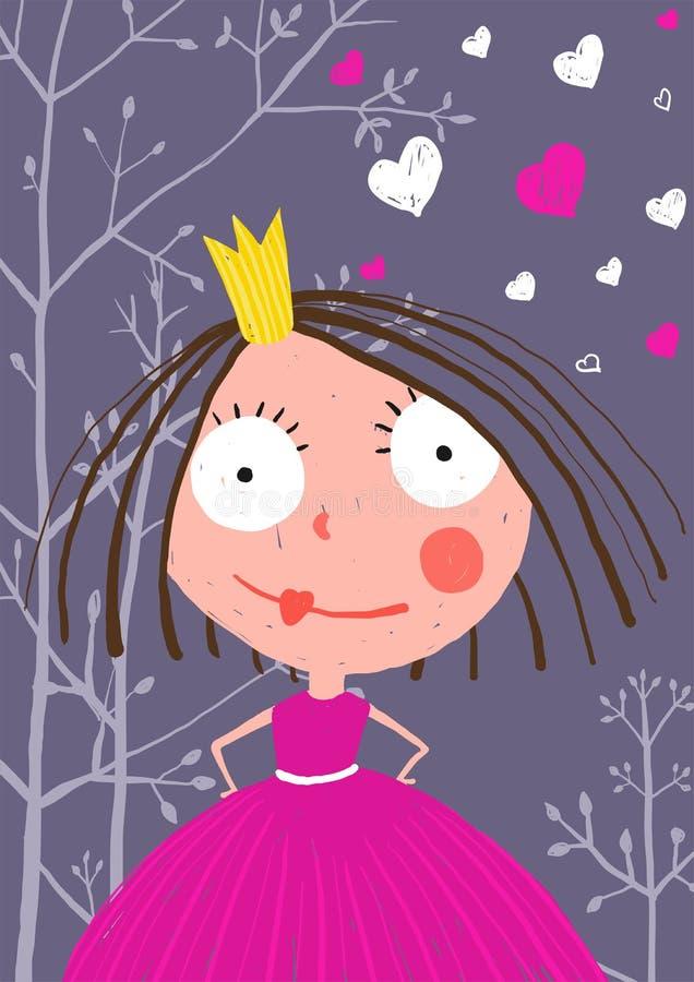 乐趣和逗人喜爱的矮小的公主在黑暗的森林里与 向量例证