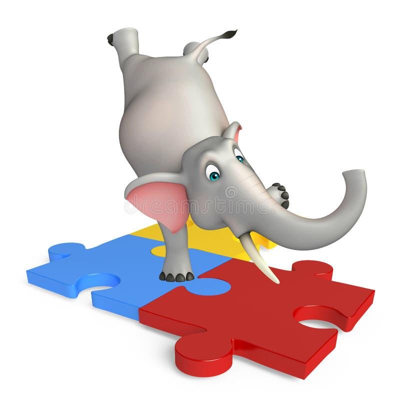 乐趣大象与难题的漫画人物 向量例证