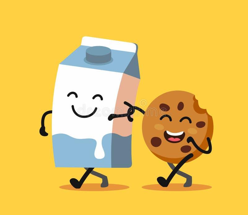 乐趣字符牛奶和曲奇饼动画片  库存例证
