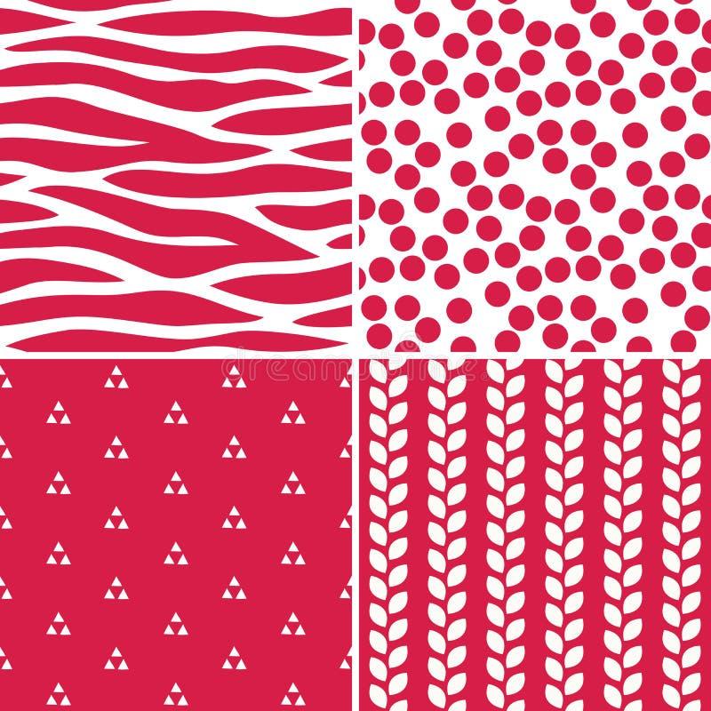 乐趣无缝的红色和白色样式 库存例证