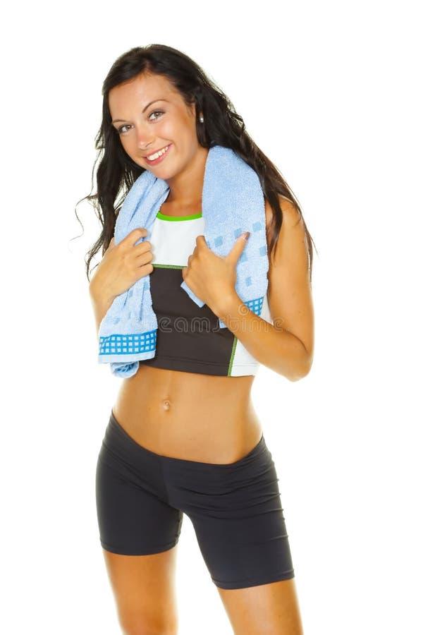 乐趣有妇女锻炼年轻人 免版税库存图片
