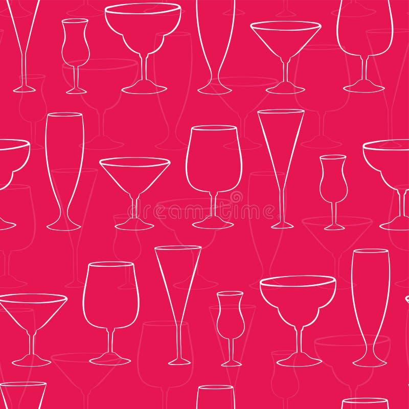 乐趣桃红色鸡尾酒杯无缝的样式,五颜六色的娘儿们党背景,伟大为庆祝横幅,墙纸,纺织品, 皇族释放例证