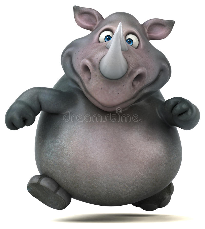 乐趣犀牛- 3D例证 向量例证