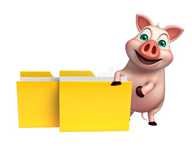 乐趣猪与文件夹的漫画人物 向量例证