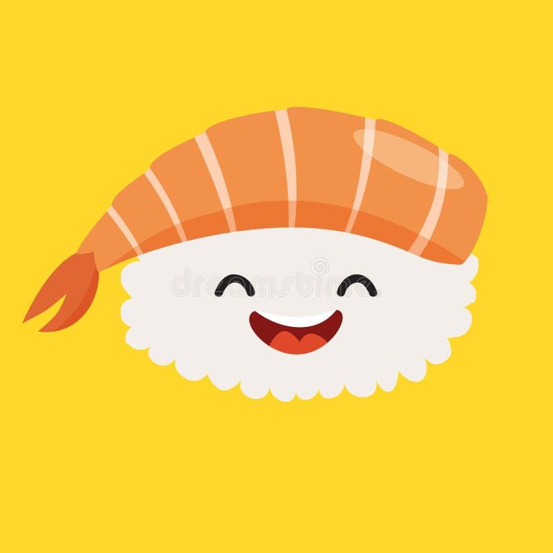 乐趣生鱼片传染媒介漫画人物 逗人喜爱的生鱼片的面孔用虾,日本食物 向量例证