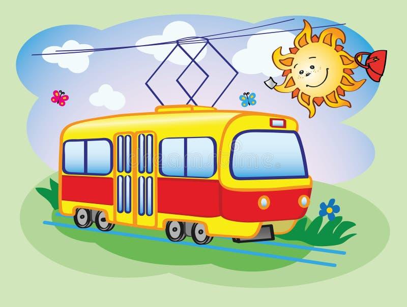 乐趣电车和太阳 向量例证