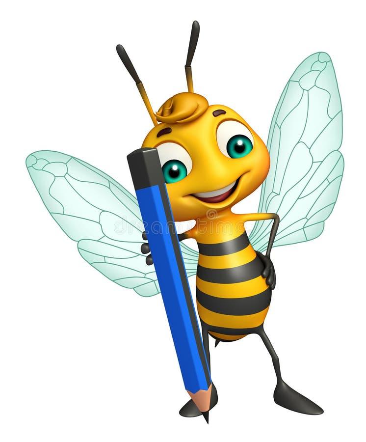 乐趣蜂与铅笔的漫画人物 库存例证