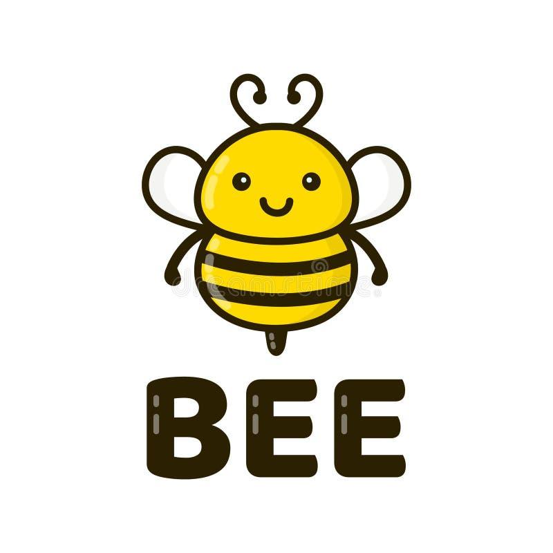 乐趣逗人喜爱的愉快的微笑的蜂 向量 向量例证