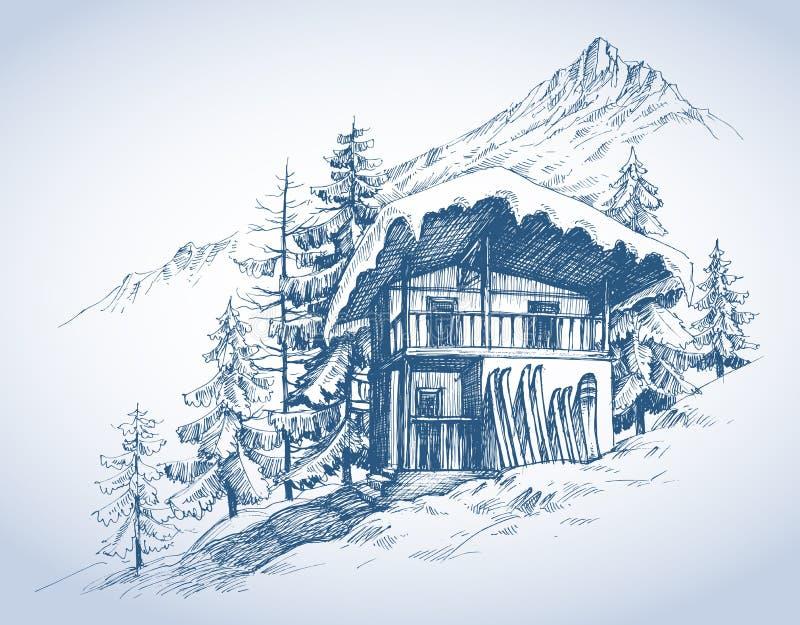 乐趣滑雪小屋 向量例证