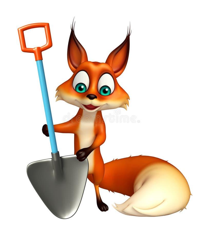 乐趣Fox与开掘的铁锹的漫画人物 向量例证