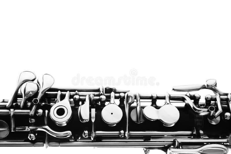 乐队乐器-在白色的oboe 免版税库存照片