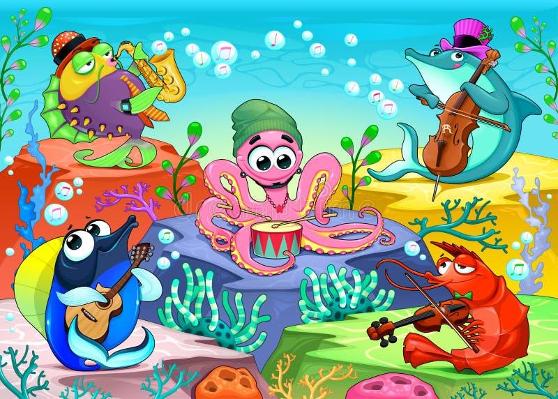 乐队在海 向量例证