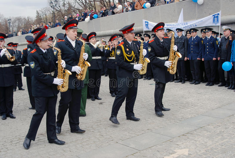 乐队音乐家-萨克斯管吹奏者 免版税库存图片