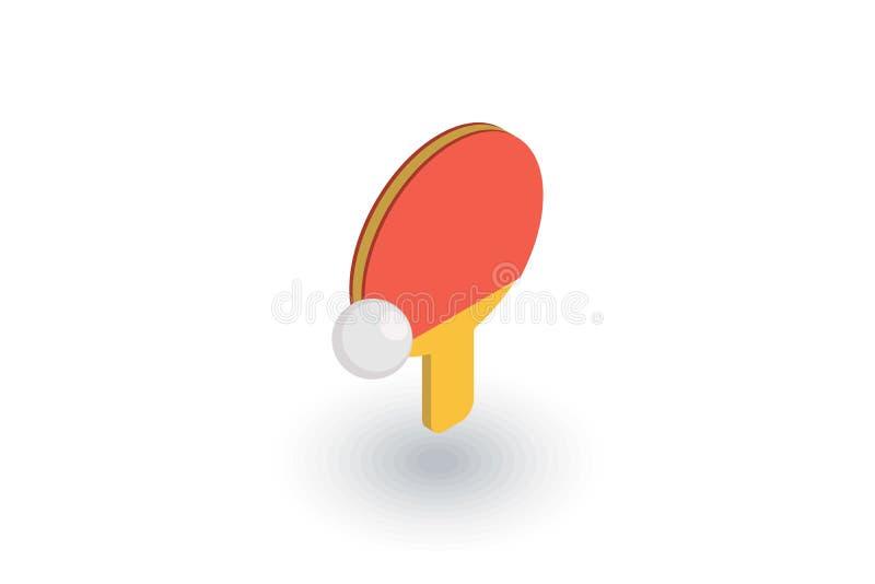 乒乓球、球拍和球等量平的象 3d向量 库存例证