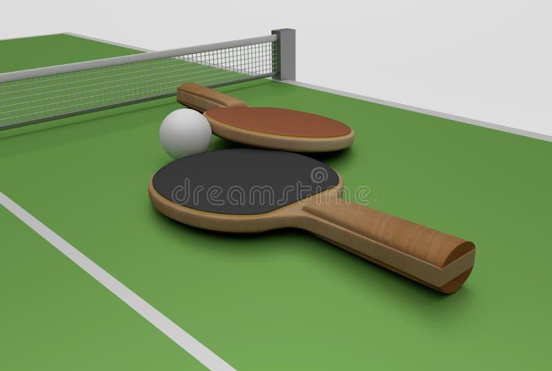 乒乓球和桌 向量例证
