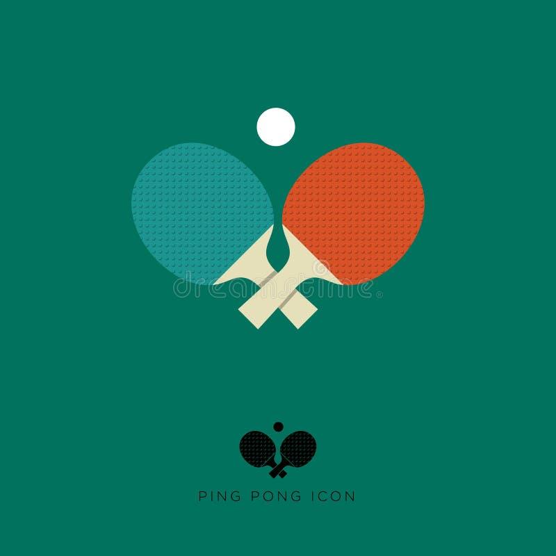 乒乓球平的象 乒乓球象 两副球拍和一个球在绿色背景 库存例证