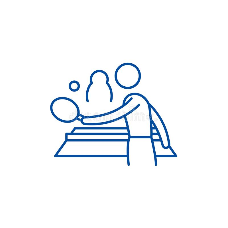 乒乓球戏剧线象概念 乒乓球戏剧平的传染媒介标志,标志,概述例证 向量例证