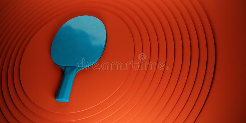 乒乓球或乒乓球球拍 比赛在抽象色环backgroung 3d例证的海报设计 库存例证