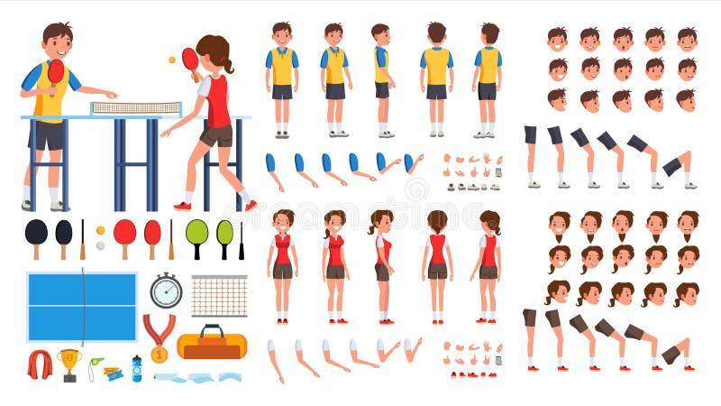 乒乓球球员男性,女性传染媒介 生气蓬勃的字符创作集合 球蓝色桨乒乓切换技术天空乒乓球 人,全长的妇女,前面,边 皇族释放例证
