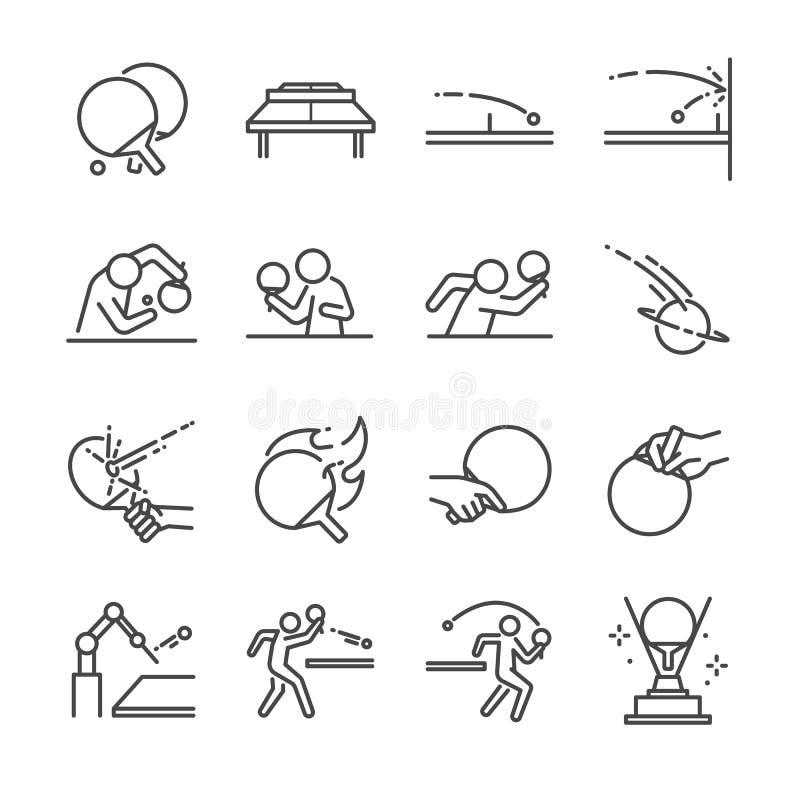 乒乓球线象集合 包括象,球、球拍、乒乓球、球员、服务、防御者,乒乓球和更多 皇族释放例证