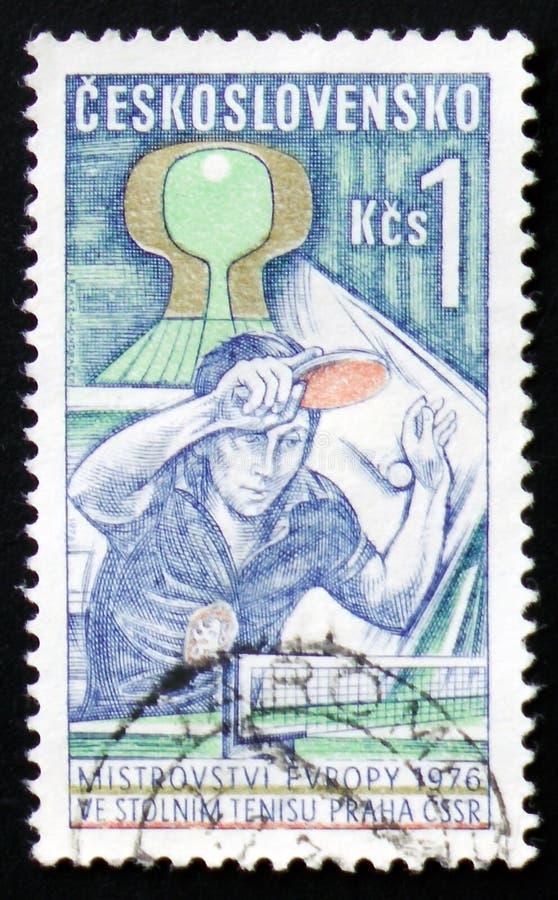 乒乓球,欧洲冠军,大约1976年 免版税库存图片