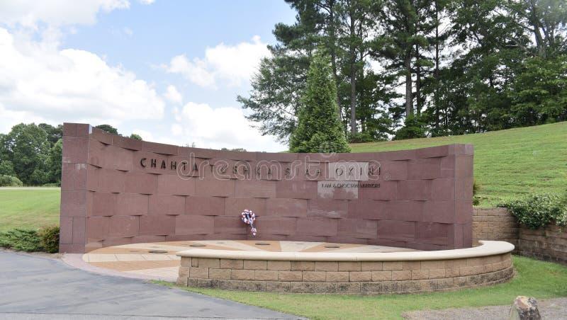 乔克托人在喷泉秋天的退伍军人纪念品,乔克托人,密西西比 免版税库存照片