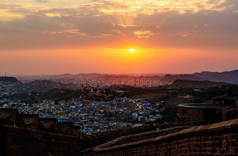 乔德普尔城都市风景看法从Mehrangarh堡垒,乔德普尔城的 免版税库存图片
