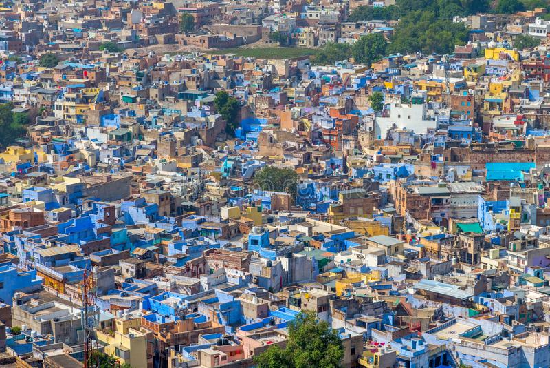 乔德普尔城鸟瞰图,蓝色城市在拉贾斯坦 免版税库存图片