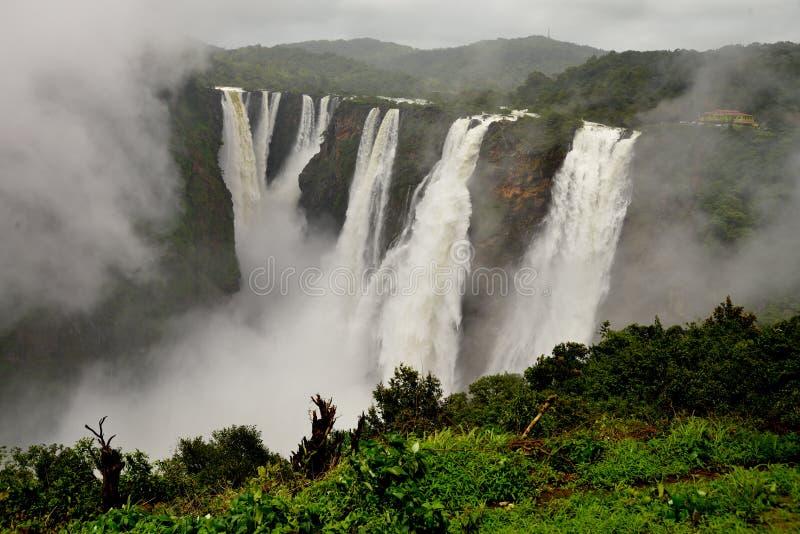 乔格法尔尔斯, Gerosoppa下跌或Joga在卡纳塔克邦国家的Sharavathi河下跌的印度 免版税库存照片