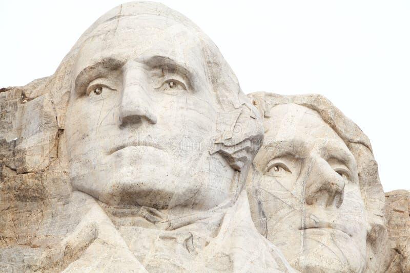 乔治・华盛顿和托马斯・杰斐逊拉什莫尔山的 免版税库存照片