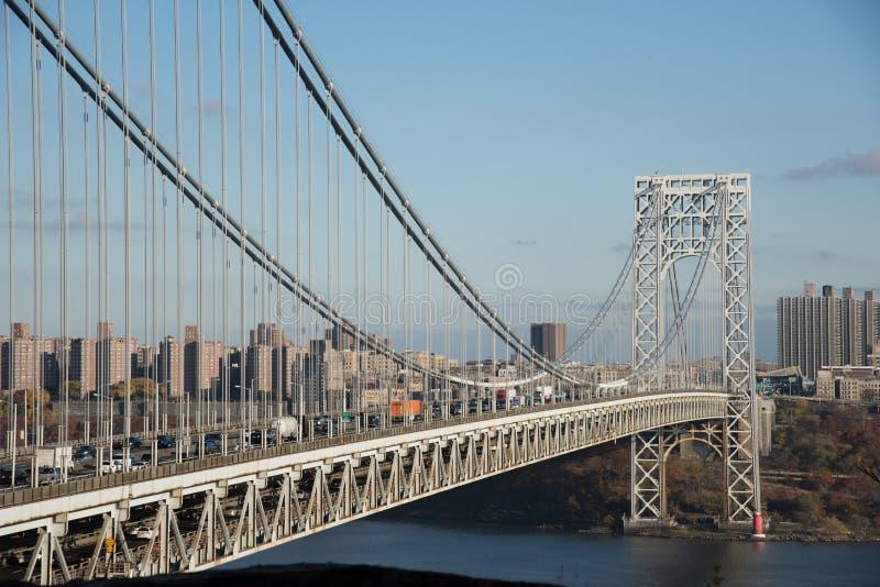 乔治・华盛顿桥梁在白天 免版税库存图片