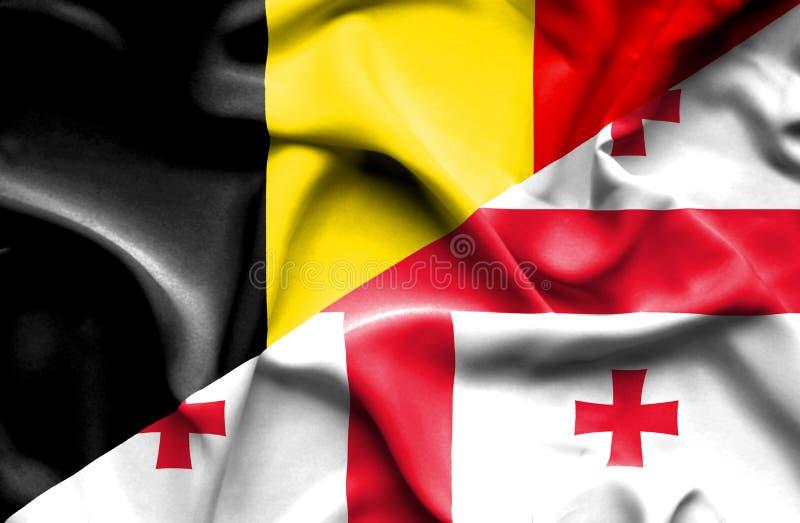 乔治亚和比利时的挥动的旗子 皇族释放例证