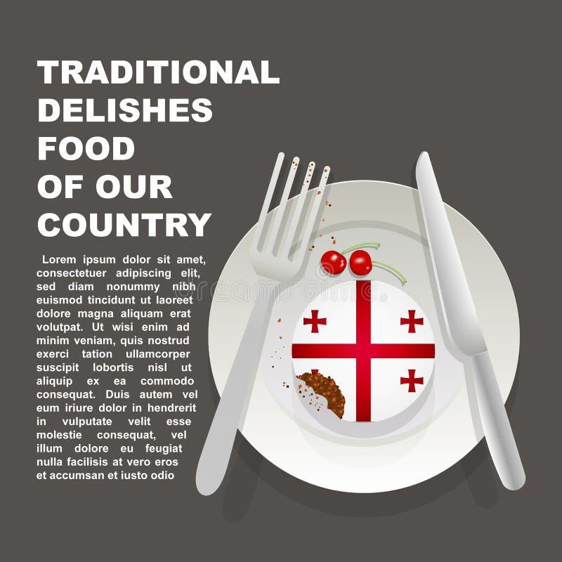 乔治亚国家海报传统可口食物  亚洲全国点心 传染媒介与格奥尔国旗的例证蛋糕  向量例证