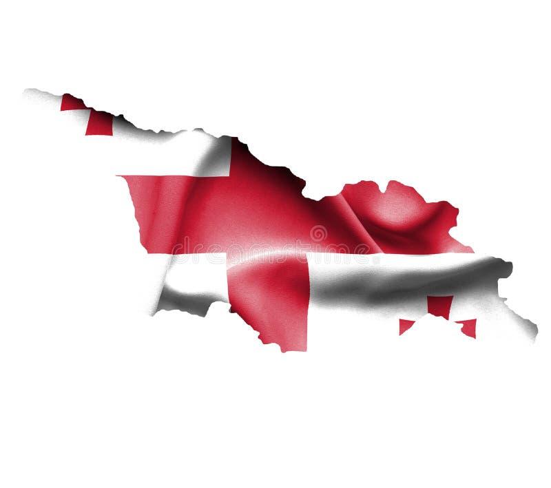 乔治亚地图有在白色隔绝的挥动的旗子的 库存例证