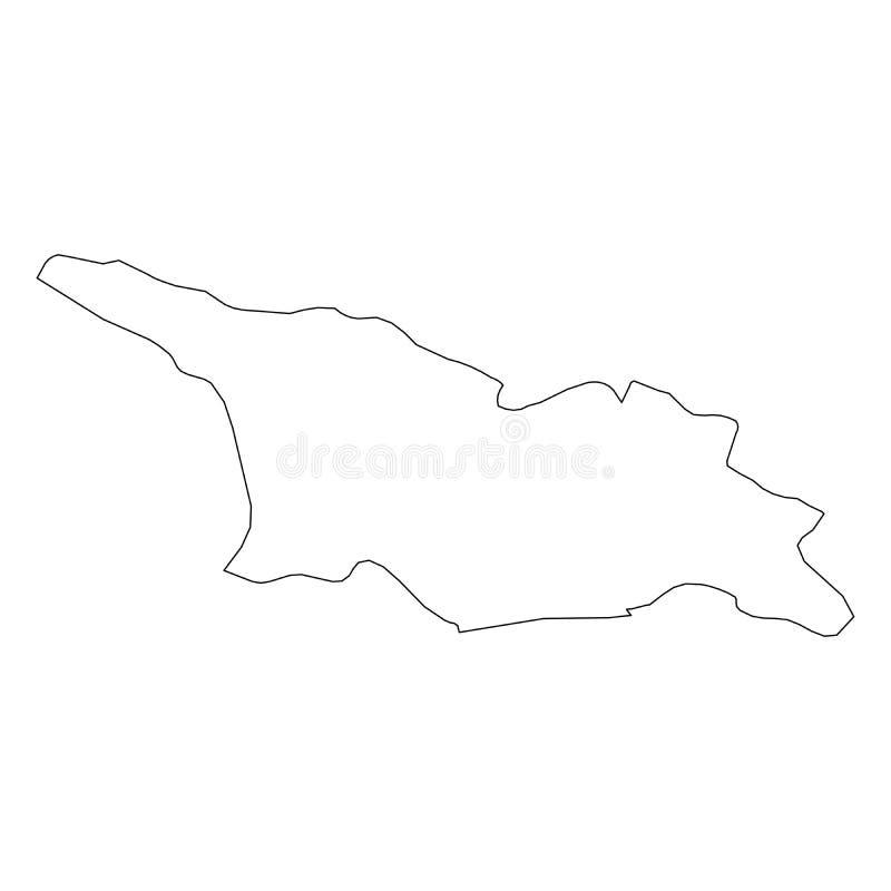 乔治亚-国家区域坚实黑概述边界地图  简单的平的传染媒介例证 向量例证