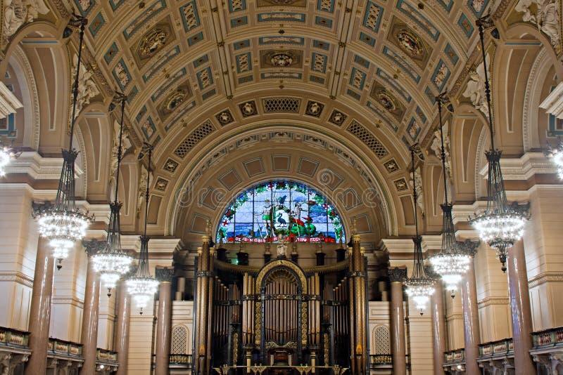 乔治大厅内部利物浦st 图库摄影