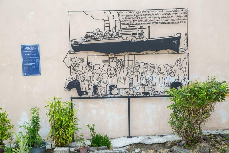 乔治市,槟榔岛,马来西亚- 2015年3月26日:导线钢标尺w 免版税库存照片