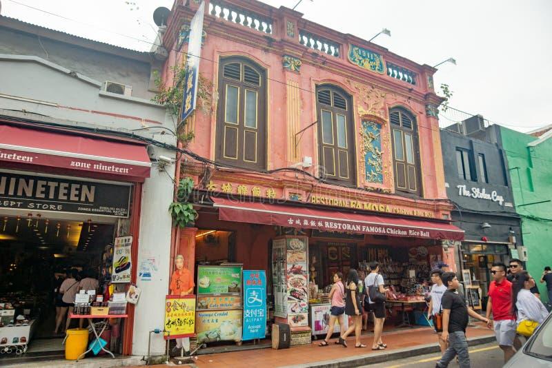 乔治镇/马来西亚20 11 2017年:中国商店的正面图在Melaka 库存图片