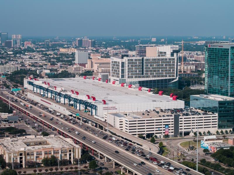 乔治R布朗会议中心休斯敦Tex的空中图象 免版税库存照片