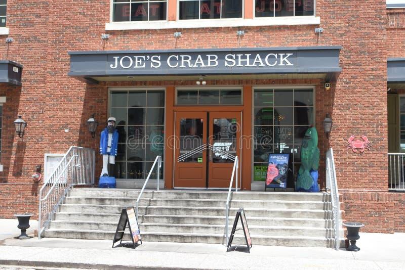 乔的在河街道,大草原,GA上的螃蟹棚子入口  免版税库存照片