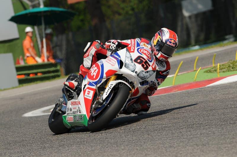 乔纳森Rea本田CBR1000RR SBK PATA本田世界超级摩托车队伊莫拉SBK 2014年 图库摄影
