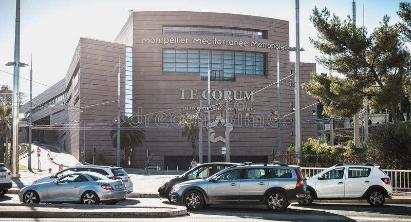 乔鲁姆的建筑细节,会议中心和歌剧柏辽兹在蒙彼利埃,法国 免版税库存图片