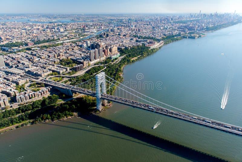 乔治・华盛顿桥梁,纽约/新泽西鸟瞰图  免版税库存照片
