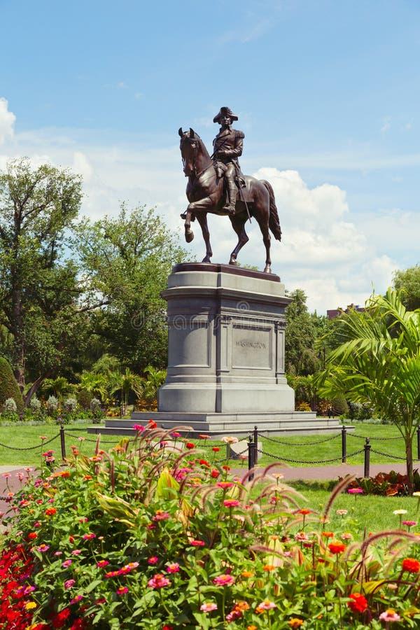 乔治・华盛顿雕象在波士顿公园里 波士顿,马萨诸塞,美国 库存图片