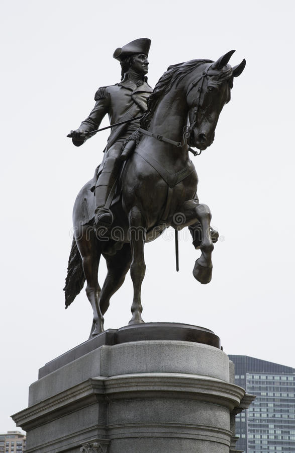 乔治・华盛顿雕象在波士顿公园,波士顿,马萨诸塞,美国里 库存照片